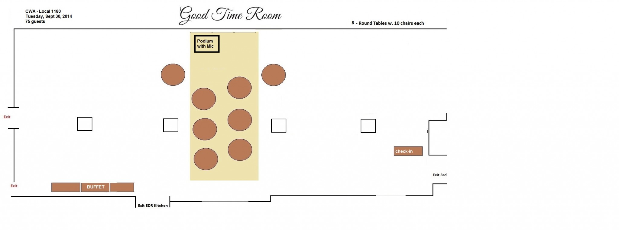 Good Time Room: CWA Layout